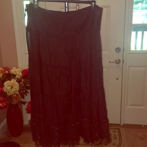 Brown flowing skirt with sequins at the the bottom